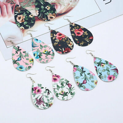 Fashion Women Retro PU Leather Dangle Earring Drop Flower Floral Chinese Jewelry