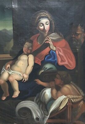 Fine 19Th French Oil Painting - The Holy Family - Sleeping Christ With St. John