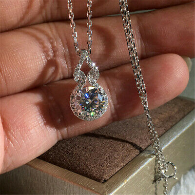 Gorgeous Heartbeat Gourd White Sapphire Pendant Necklace Women 925Silver Jewelry