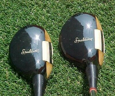 Left Hand LH SOLID PERSIMMON Spalding Model 79L Golf Clubs Rare Set 3 & 4 Woods