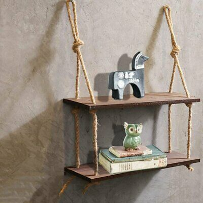 50X15 Rustic Solid Wood Rope Hanging Wall Shelf Country Vintage Storage Floating