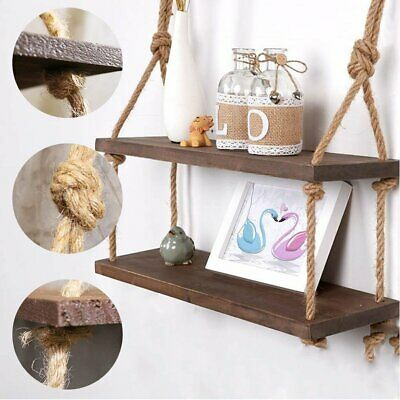 Rustic Wooden Hanging Rope Shelf - Vintage Solid Natural Wood Floating Shelves