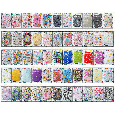 Reusable Nappies Washable Baby Pocket Cloth Diapers One Size Covers Inserts lot
