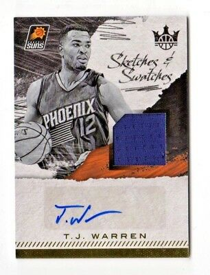 T.j.warren Nba 2017-18 Court Kings Sketches And Swatches Auto (Suns) #/399