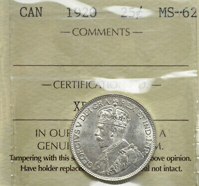 1920 Canada 25 cents ICCS MS-62