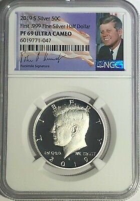 2019 S NGC PF69 PROOF SILVER KENNEDY HALF DOLLAR SIGNATURE LABEL ULTRA CAMEO 50c