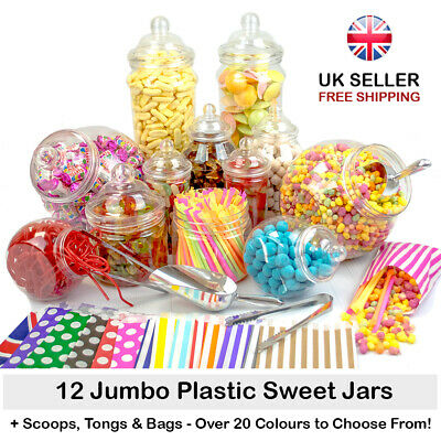 JUMBO Plastic Sweet Jars 12 Jars 100 Bags 2 Scoops 2 Tongs DIY Candy Buffet