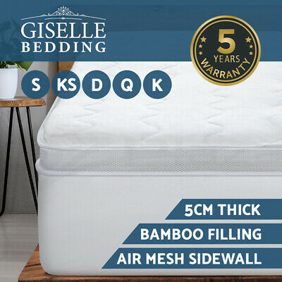 Giselle Bedding 1000GSM Mesh Wall Pillowtop Mattress Topper Protector Cover 5cm