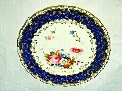 """A Lovely Antique Blue White & Gilt Coloured Floral Wall Hanging 8"""" Side Plate"""