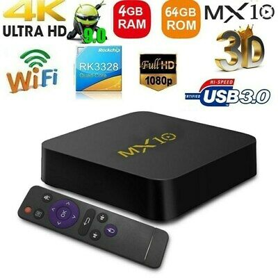 MX10 Smart Android 9.0 TV Box RK3328 4K VP9USB3.0 4 GB/64 GB WiFi MéDia B0D1
