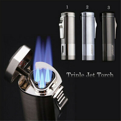 New Windproof Triple Jet Torch Lighter Refillable Butane Cigar Cigarette Lighter