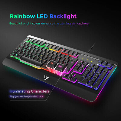 Gaming Keyboard UK Ultra-Slim USB Wired with Comfortable Wrist Rest Rainbow LED