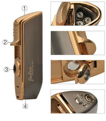 Jobon Triple Nozzles Torch Cigarette Lighter Jet Butane Lighter Cigar Punch
