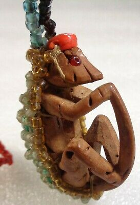 Antique Vintage Ethnic Hand Carved Wood Monkey Talisman Adorned with Seed Beads