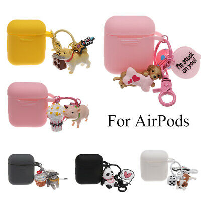 Lovely Silicone Case Protective Sleeve with Dog Pig  Pendants For Apple Airpods