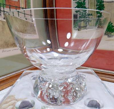 """Vintage Clear Art Glass Controlled Bubble Base 4"""" Candy Dish"""