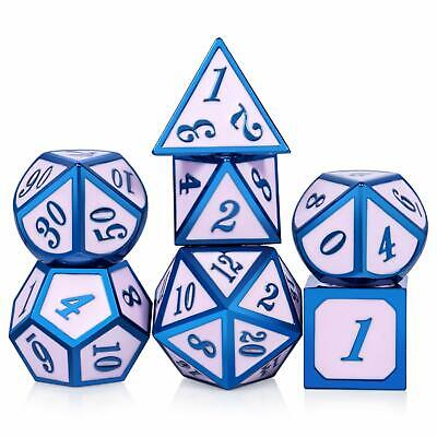 7Pcs Metal Dice Set DND RPG MTG Role Playing Game Dungeons Dragons D&D, BLUE