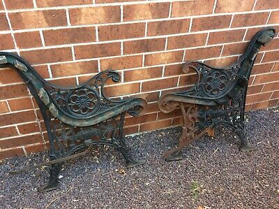 Collectable Antique Cast Iron Bench Seat Sides MONKEY / LION HEAD? Detail. 3810