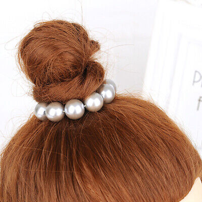 Women's Pearl Hair Scrunchie Rope Tie Ring Hair Band Ponytail Holder Accessories