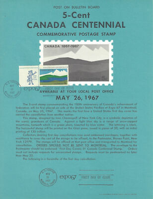 #1324 5c Canada Centennial Stamp Poster- Unofficial Souvenir Page Flat w/zip