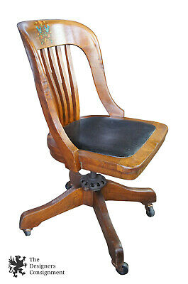 Milwaukee Chair Co Arts & Crafts Mission Oak Adjustable Rolling Leather Seat