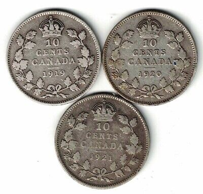 3 X Canada Ten Cents Dimes King George V Silver Coins 1919 1920 1921 Canadian