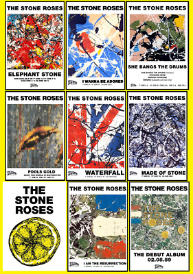 STONE ROSES Album & Single Posters A4, A3, A2 High Quality + Glossy 200gsm