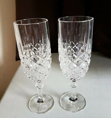 Pair Of Quality Cut Glass Wine/Champagne Glasses/Flutes