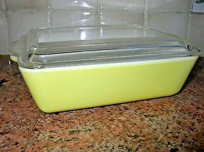 Vintage Pyrex Primary Colors Yellow #503-B Refrigerator Dish w Ribbed Clear Lid