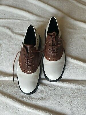 e3207203f0ac9 Ecco Mens Hydromax Golf Shoes White Leather Brown Oxfords Size 9.5 Superb  Cond