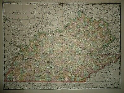 Vintage 1894 TENNESSEE - KENTUCKY MAP Old Antique Original Folio Size Atlas Map