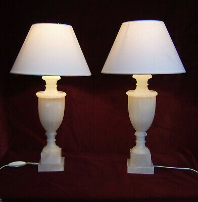 PAIR ANTIQUE  FRENCH Neo classical carved marble alabaster table lamps, lights.