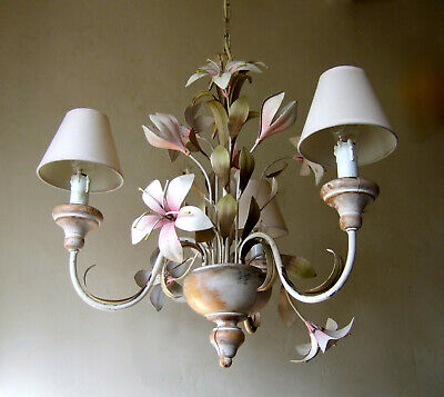 Antique French Vintage Pretty  Three Branch Tole Chandelier With Lillys