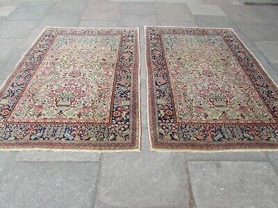 Pair of Antique Hand Made Traditional Persian Oriental Wool Cream Rugs 211x133cm
