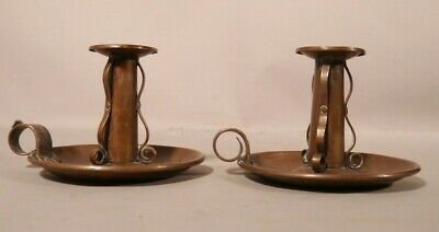 Hand Hammered Copper Mission Arts Craft Style Pair of Candle Sticks Roycroft Sty