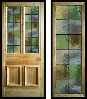Harlequin Stained Glass Door Panels, handmade to order