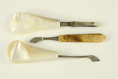 Vintage Estate 3PC Mixed Lot MOP Mother of Pearl Handles Ladies Vanity Tools