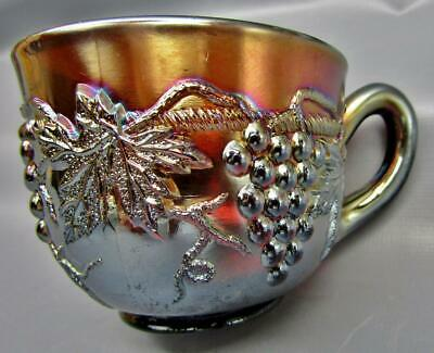 """Northwood GRAPE & CABLE Amethyst / Purple Carnival Glass 3¼"""" x 2½ Punch Cup 6738"""