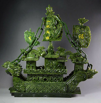 Large Exquisite Hand Carved 100% Natural Jade Dragon Incense statue Dragon Boat