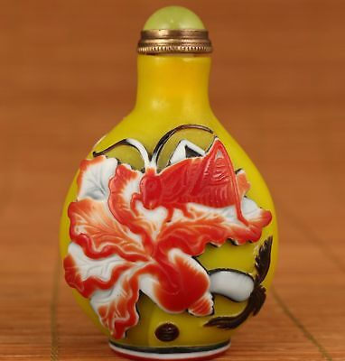 vintage Chinese Old Glaze Hand relief Locust figure Statue snuff bottle gift