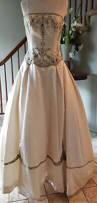 3dbfea256a1d4 Reem Acra * Strapless Sequin Beaded Champagne Wedding Gown Dress * 4-6 *  $6,000