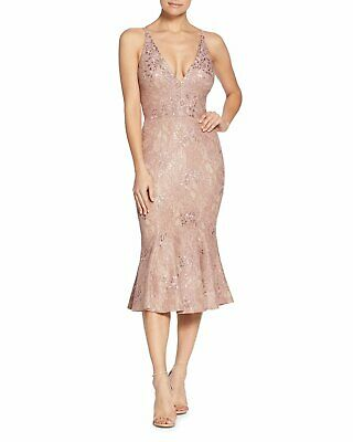 b81ccea8a9eb NEW DRESS the POPULATION Pink Sequin Corded Lace Isabelle Trumpet Bodycon  Midi M