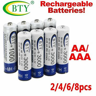 2-8X AA/AAA 1.2V 1000mAh 3000mAh Ni-MH BTY Cell Rechargeable Battery