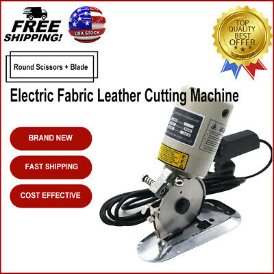 "Electric Cloth 3.5"" Fabric Leather Cutting Machine Round Scissors with Blade USA"