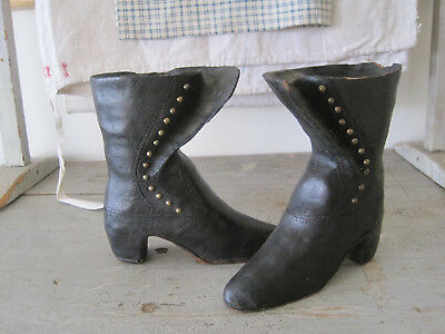 19th Century Original Black Paint Small Hand Carved Wood Tall Boots Primitive
