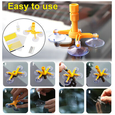 Car Wind Glass Windscreen Windshield Repair Tool Kit Yellow For Chip Crack -DIY