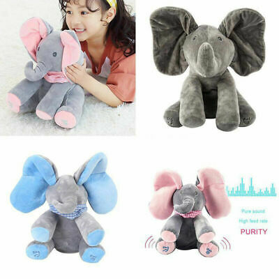 UK Plush Toy Peek-a boo Singing Elephant Music Doll Kid Baby Birthday Gift