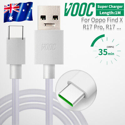 Genuine 4A OPPO VOOC Type C USB Fast Charger Cable Fr R17 R19 Pro Reno Find X OZ