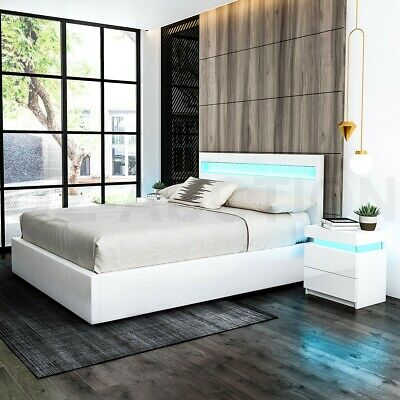 Queen PU Leather Gas Lift Storage Bed Frame Wood Bedroom Furniture LED Light WH