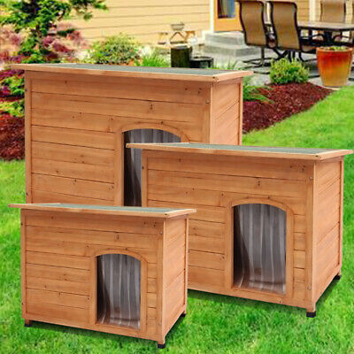 Large Insulated Wooden Dog Pet Kennel Outdoor House Removable Floor Easy Clean